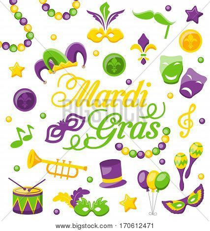 Illustration Celebration Background with Set Mardi Gras and Carnival Icons and Objects - Vector