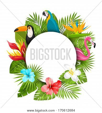 Illustration Summer Clean Card With Tropical Plants, Hibiscus, Plumeria, Flamingo, Parrot, Toucan. Exotic Flowers and Animals - Vector