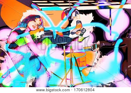 melancholy modern fashion girl in abstract style colorful vibrant collage
