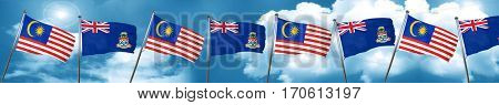 Malaysia flag with Cayman islands flag, 3D rendering