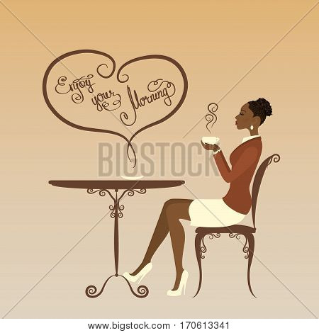 african american girl is drinking coffee stock vector illustration