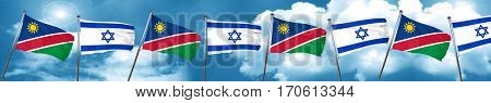 Namibia flag with Israel flag, 3D rendering