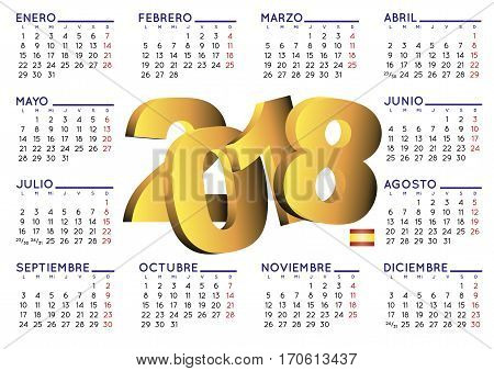 2018 Calendar Spanish Horizontal