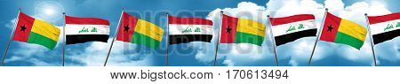 Guinea bissau flag with Iraq flag, 3D rendering