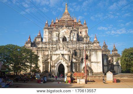 BAGAN, MYANMAR - DECEMBER 23, 2016: Ancient Buddhist temple Thatbyinnyu Phaya, sunny day. Old Bagan