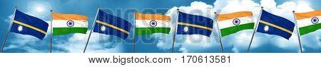 Nauru flag with India flag, 3D rendering