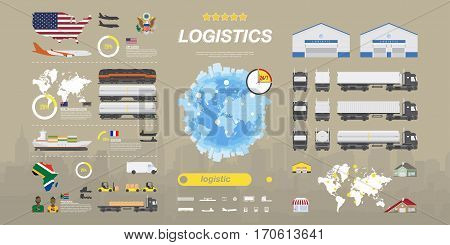 Set of flat vector illustrations on the theme of Logistics, Warehouse and Freight, Cargo Transportation. Warehouses for the storage of goods and homes to deliver.