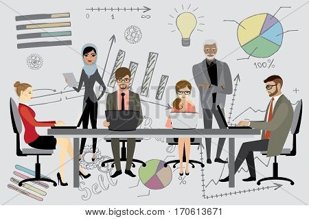 People Working On Computer Flat Style Cartoon,