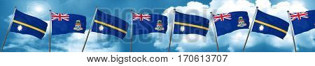 Nauru flag with Cayman islands flag, 3D rendering