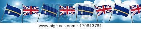 Nauru flag with Great Britain flag, 3D rendering