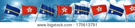 Nauru flag with Hong Kong flag, 3D rendering