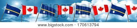Nauru flag with Canada flag, 3D rendering