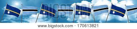 Nauru flag with Botswana flag, 3D rendering