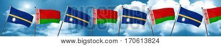 Nauru flag with Belarus flag, 3D rendering