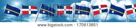 Nauru flag with Dominican Republic flag, 3D rendering