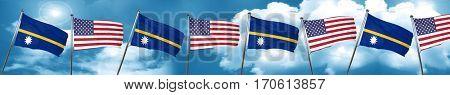 Nauru flag with American flag, 3D rendering