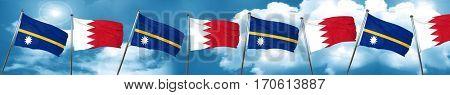 Nauru flag with Bahrain flag, 3D rendering