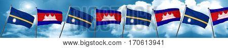 Nauru flag with Cambodia flag, 3D rendering