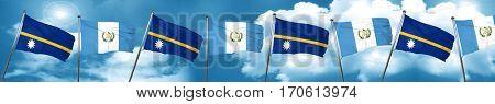 Nauru flag with Guatemala flag, 3D rendering