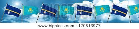 Nauru flag with Kazakhstan flag, 3D rendering