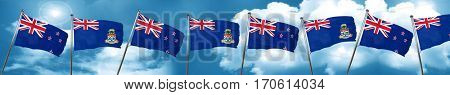 New zealand flag with Cayman islands flag, 3D rendering