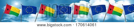 Guinea bissau flag with european union flag, 3D rendering