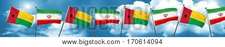 Guinea bissau flag with Iran flag, 3D rendering