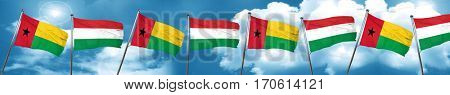 Guinea bissau flag with Hungary flag, 3D rendering
