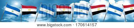 nicaragua flag with egypt flag, 3D rendering