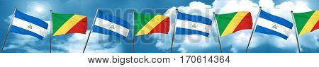 nicaragua flag with congo flag, 3D rendering