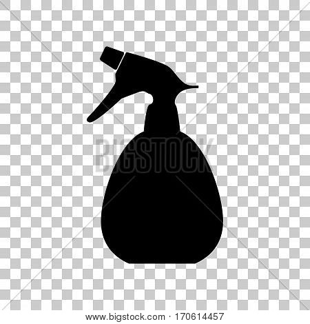 Spray bottle for cleaning sign. Black icon on transparent background.