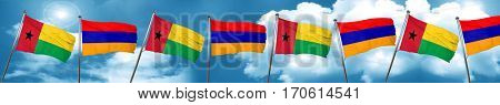 Guinea bissau flag with Armenia flag, 3D rendering