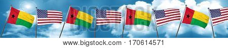 Guinea bissau flag with American flag, 3D rendering
