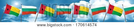 Guinea bissau flag with Bulgaria flag, 3D rendering