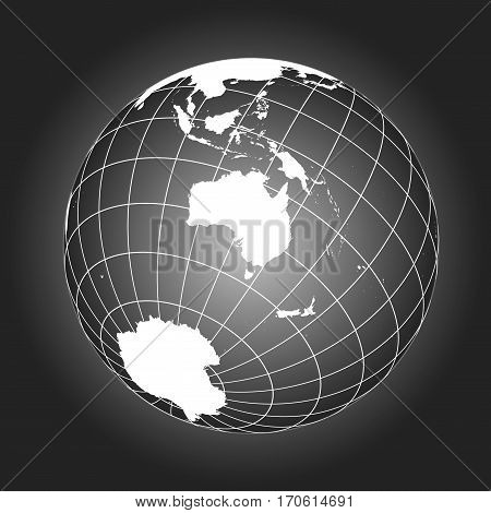 Australia Or Oceania Map In Black And White