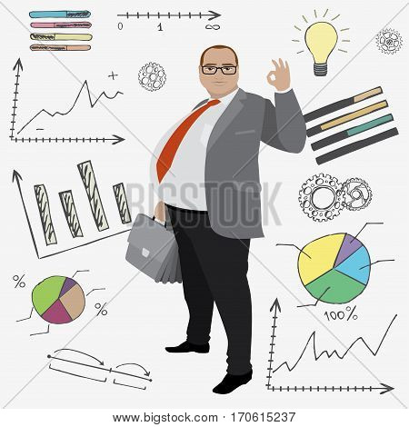 cartoon fat smile businessman or office worker and doodle finance set on background stock vector illustration
