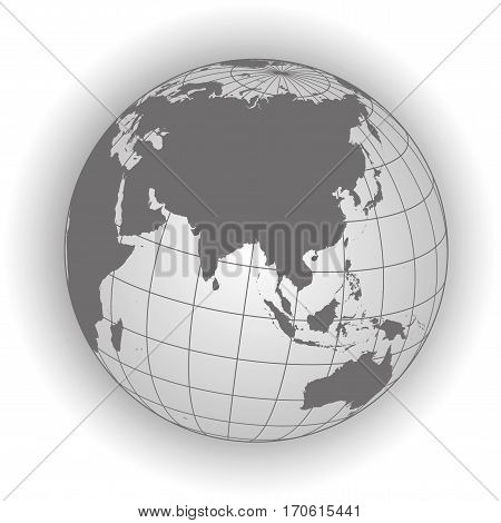 Asia Map In Gray Tones