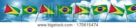 Guyana flag with Brazil flag, 3D rendering