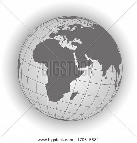 Europe And Africa Map In Gray Tones