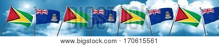 Guyana flag with Cayman islands flag, 3D rendering
