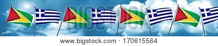 Guyana flag with Greece flag, 3D rendering