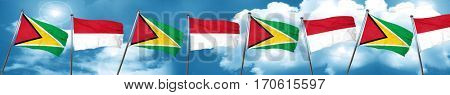 Guyana flag with Indonesia flag, 3D rendering