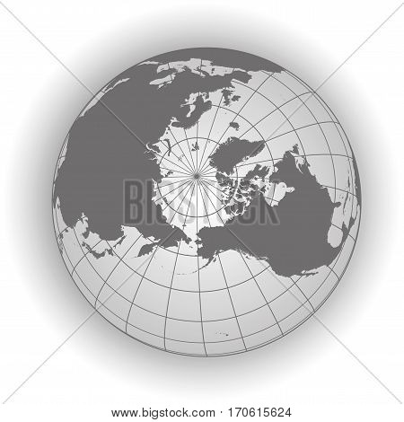 North Pole Map In Gray Tones
