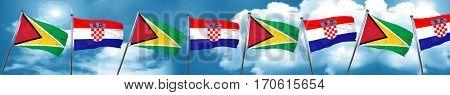 Guyana flag with Croatia flag, 3D rendering