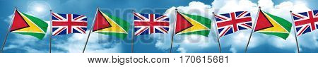 Guyana flag with Great Britain flag, 3D rendering