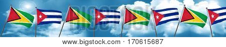 Guyana flag with cuba flag, 3D rendering