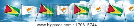Guyana flag with Cyprus flag, 3D rendering