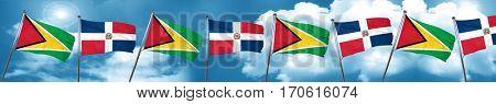 Guyana flag with Dominican Republic flag, 3D rendering