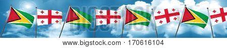 Guyana flag with Georgia flag, 3D rendering