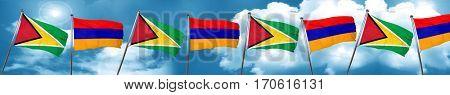 Guyana flag with Armenia flag, 3D rendering